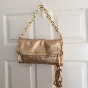 Gold-Lilly Pulitzer Banyan leather foldover clutch